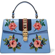 Gucci Sylvie medium chain-embellished appliquéd leather tote ($3,500) ❤ liked on Polyvore featuring bags, handbags, tote bags, blue, blue leather tote, gucci handbags, blue tote bag, handbags totes and leather purses