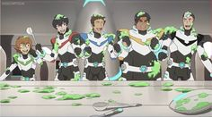 Pidge, Keith, Lance, Hunk and Shiro started smiling and laughing after they have a green food goo fight as they are having a good time as part of the team from Voltron Legendary Defender
