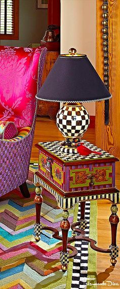 New Funky Painted Furniture Mackenzie Childs Patterns Ideas Whimsical Painted Furniture, Painted Chairs, Hand Painted Furniture, Funky Furniture, Paint Furniture, Furniture Decor, Bohemian Furniture, Furniture Design, Mackenzie Childs Furniture