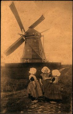 Dutch children & windmill - #Netherlands #travel