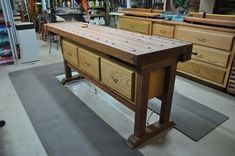 Cabinet Maker's Workbench with compressed air feet to move around