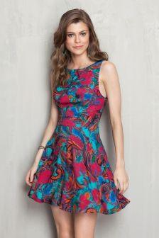 Vestido tiras costas estampado floral cashmere