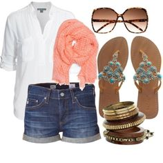 summer outfit denim shorts white button down shirt peach scarf turquoise flipflops