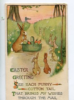 Tuck's Easter Postcard   Bunny Rabbits baby by sharonfostervintage, $6.00