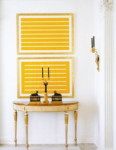 Perfect mix! modern art  antiques.  Yellow & Black with bronze accents.