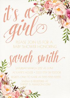 Girl Baby Shower Invitation, Unique, Boho, Flower, Watercolor, Spring, Peonies (140)