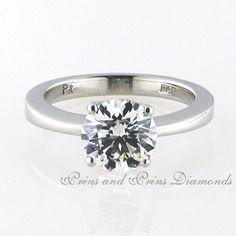 Centre stone is a 2.149ct I/VVS2 round brilliant cut diamond set in a classic 4 claw platinum setting
