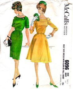 McCalls 6096 1960s MAD MEN Dress Pattern Raglan Sleeves Slim or Flared Skirt Scoop Neck womens vintage sewing pattern by mbchills