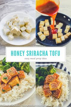 Honey Sriracha Tofu is a delicious spicy fried tofu recipe topped off with a sweet and spicy Sriracha sauce. This easy tofu recipe is a winner for game day! Tofu Recipes, Dairy Free Recipes, Vegetarian Recipes, Spicy Fried Tofu Recipe, Vegan Main Course, How To Press Tofu, How To Cook Corn, Marinated Tofu, Easy Meal Prep