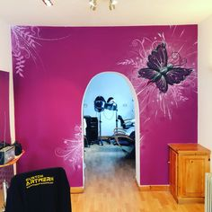 Salon painted wall mural