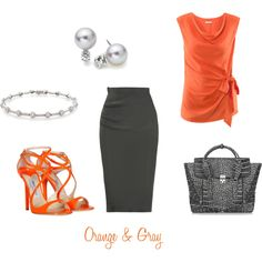 orange & gray, created by summerscf on Polyvore
