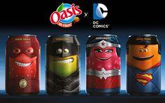 Oasis y héroes de DC Comics en sus latas