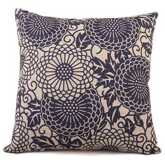 Linen Cotton Traditional Chinese Blue Sofa Cushion Cover Universal Home Decoration Bedding Pillow Case Car Seat Back 45cm*45cm
