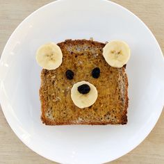 Entice your kids to eat with a teddy face bread! Cute isn't it? I would love to do this if I have a kid :D #food #kids #recipe
