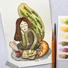 It's weekend time🐾☕️📚 Watercolor Drawing, Watercolor Illustration, Painting & Drawing, Watercolor Paintings, Beautiful Drawings, Cute Drawings, Cartoon Painting, Pretty Art, Character Illustration