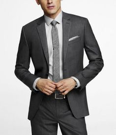 Pinstripe Stretch Wool Producer Suit Jacket via Express