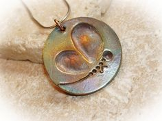 Fingerprint jewelry dragonfly pendant in bronze by TimeflysDesigns, $84.00