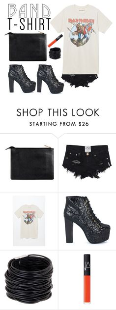"""Iron Maiden"" by sarah-who ❤ liked on Polyvore featuring Jeffrey Campbell, Saachi, NARS Cosmetics, ironmaiden, bandtshirt, contestentry and bandtee"