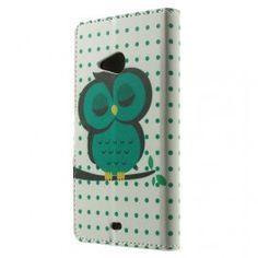 Lumia 535 vihreä pöllö puhelinlompakko