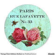 Vintage Paris Address Stickers