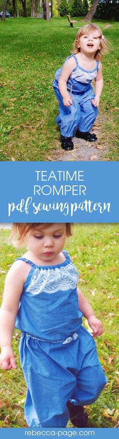 PDF sewing pattern - The Teatime Romper PDF sewing pattern has two leg length options (ankle and mid-thigh), an optional bow, an elasticised hem option, and for the smaller sizes a popper/snaps crotch option. Sizes newborn to 12 years.