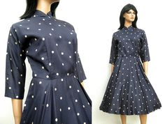 1950s Polka Dot Dress  Vintage Navy Blue Off by HepCatClothes, $150.00