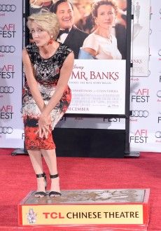 Emma Thompson puts her print on Hollywood Mr Banks, Emma Thompson, Hooray For Hollywood, Red Carpet, Glamour, Culture, Formal Dresses, Beautiful, Cement
