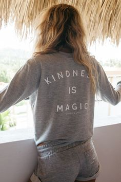 - Kindness is magic. Our new crop sweatshirt features a 'Peace Love Yoga' lotus front graphic and 'Kindness Is Magic' back graphic. - Super soft jersey blend with an unfinished cropped bottom hem. Cot