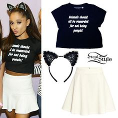 """Ariana Grande met with fans at her concert in Oslo wearing the O'Mighty Reward The Animals Crop Tee ($43.70) which says """"Animals should all be rewarded for not being people!"""", the Loli Millie The Classic Floral Cat Ears (sold out), and a skirt similar to the H&M White Circle Skirt ($14.99)."""