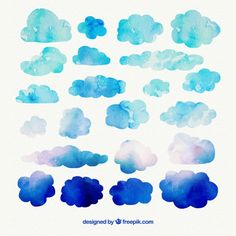 Watercolor Clouds Vectors, Photos and PSD files Watercolor Clouds, Watercolor Texture, Watercolor Print, Watercolor Illustration, Watercolor Paintings, Cloud Illustration, Cloud Tattoo, Art Deco Design, Doodle Art