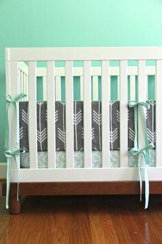 charcoal arrow and mint bedding for ryann by iviebaby on Etsy Nursery Room, Girl Nursery, Baby Room, Mint Bedding, Crib Bedding, Baby E, Nursery Inspiration, Nursery Ideas, Baby On The Way
