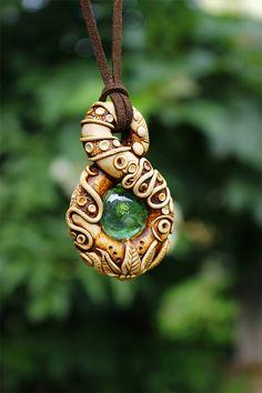 Clay pendant, clay boho pendant, spirals pendant, hippie gypsy necklace…