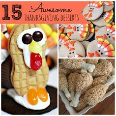 15 Awesome Thanksgiving Desserts - Pretty My Party #thanksgiving #dessert #kids #foodart