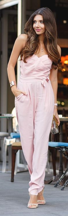 The Mysterious Girl Powder Pink Jumpsuit Fall Inspo
