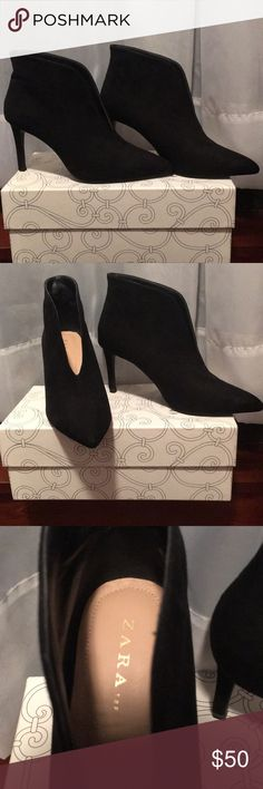 Zara slit black booties size 37 Only worn once, classic style! Super chic look with the opening in the front. Suede like material. Size 37 Zara Shoes Ankle Boots & Booties