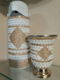 Kit = cuia + garrafa térmica de 1 litro alta pressão, decoradas com pérolas e strass