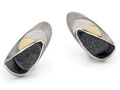Earrings - Drusy black chalcedony stud earrings in silver mounts with 18ct gold detail.