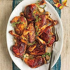 Molasses-Brined Roasted Chicken - Roast Chicken Recipes for Every Night of the Week - Southernliving. Recipe: Molasses-Brined Roasted Chicken The Roasted Chicken Jus is worth the effort. Roast Chicken Recipes, Roasted Chicken, Baked Chicken, Fall Dinner Recipes, Fall Recipes, Main Dishes, Cooking Recipes, Vegetarian Recipes, Recipes