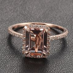 9x7mm Morganite Emerald Cut and Diamonds 14k Rose White Or Yellow Gold Engagement Wedding Ring  IN MY DREAMS!!!!