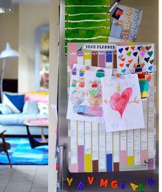 Children's drawing on the fridge. Famille Summerbelle