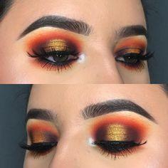 halo eye / spotlight w/ gold, deep brown & a warm orange crease @kissartistry | no eyeliner makeup