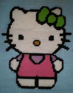 Student creations with their plastic canvas project...here is a Hello Kitty creation...