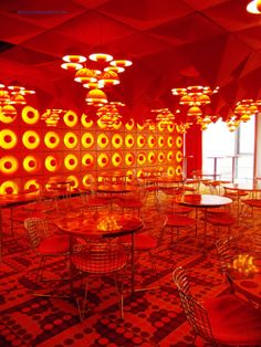 At the Museum for Arts and Crafts. The Spiegel Canteen, considered as one of the most famous works of the Danish designer Vermer Panton. Listed as a historical monument, this pop-art work of design and architecture was donated to the museum in 2011.