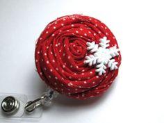 Secret Santa Gift Idea - Red Rosette Retractable Badge Reel  Snowflake by PoppyandPippa, $9.00