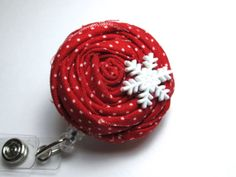 Secret Santa Gift Idea - Red Rosette Retractable Badge Reel  Snowflake by PoppyandPippa, $9.00
