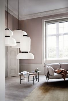IMM Köln Interior Design Trends 2016 This lamp constellation is a special eye-catcher in a minimalis Classic Interior, Home Interior, Modern Interior, Interior Architecture, Pastel Interior, Interior Design Trends, Home Design, Interior Inspiration, Design Shop