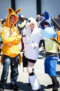 Check out these lovely Pokemon cosplayers Jolteon, Absol, and Lucario.