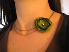 DOUBLE SWAG choker style necklace  ruffly green rose on