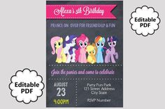 $7 - EDITABLE TEXT My Little Pony Birthday Invitation - My Little Pony Party Invites - My Little Pony Invite -Instant Download