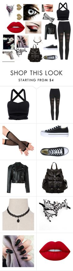 """""""creepypasta oc #8 (heartbreaker)"""" by laughing-alice on Polyvore featuring Converse, Jean-Paul Gaultier, Frye and Lime Crime"""